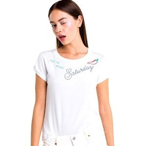 Wildfox Saturday No 9 Embroidered Tee Hot Spicy